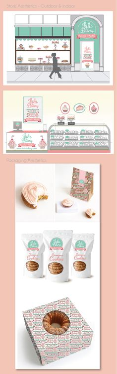 Lulu Bakery packaging branding on Behance By Luciana Cruz, Pontevedra, Spain. LULU BAKERY from beautiful cupcakes to sweet tables, this small business prides itself on handmade and personalized sweet treats. Brand Identity Design, Branding Design, Logo Design, Branding Ideas, Corporate Branding, Design Design, Bakery Packaging, Brand Packaging, Food Truck