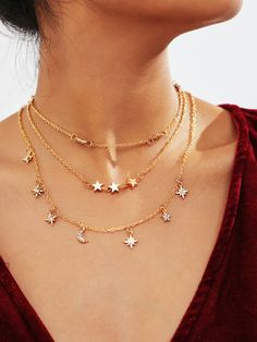 d71eb267f1 To find out about the Star Design Layered Chain Necklace at SHEIN, part of  our latest Necklaces ready to shop online today!