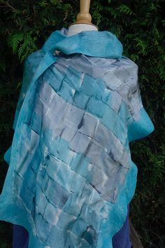 nuno felted silk wrap scarf shawl blue grey silk hand painted