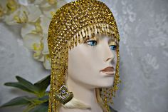 GREAT GATSBY headpiece, 1920s Roaring 20s gold beaded Cap headpiece, Flapper, gatsby wedding, gatsby accessories, gatsby dress, gatsby party You cannot get any more FABULOUS!!!!!!!!!!!!! BRONZE GOLDEN beaded Flapper Cap and FREE!!!!!GATSBY EARRINGS and CRYSTAL BRACELET!!!!!!!!!!! You