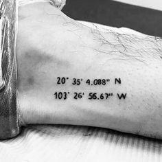 50 Coordinate Tattoo Ideas For Men - Geographic Landmark Designs - Beautiful Tattoo Bro Tattoos, Date Tattoos, Body Art Tattoos, Shark Tattoos, Piercing Tattoo, I Tattoo, Tattoo Quotes, Piercings, Tattoos For Women