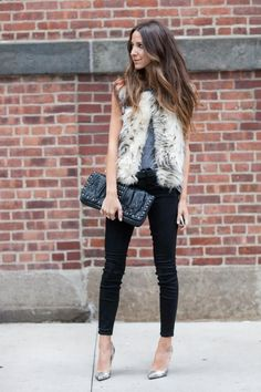 fur gilet outfit