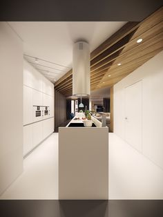 This beautiful Krakow home sparks the imagination with innovative interior architecture and a strong modernistic attitude, tempered in places by classic natural materials. Each perspective offers a unique visual experience with surprising details hiding a Natural Modern Interior, Modern Interior Design, Interior Architecture, Küchen Design, House Design, Media Design, Bedroom Furniture Redo, Furniture Design, Dark Interiors