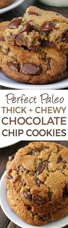 These thick and chewy paleo chocolate chip cookies have the perfect texture along with a subtle nuttiness thanks to almond flour and almond butter {grain-free, gluten-free, and dairy-free} paleo dessert peanut butter Paleo Dessert, Low Carb Desserts, Healthy Sweets, Healthy Baking, Vegan Desserts, Dessert Recipes, Easy Desserts, Healthy Food, Gourmet Cookies