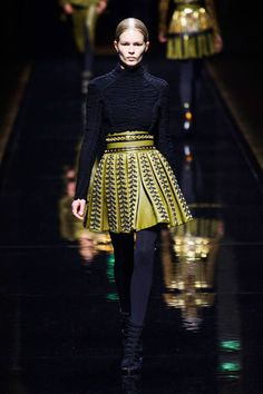 See all of the best runway looks from Paris Fashion Week. Balmain Fall 2014.
