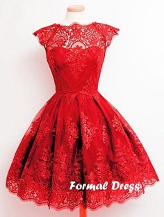 Charming Short red Lace Prom Dresses, Homecoming Dresses,Evening dresses