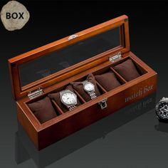 Top 5 Slots Wood Watch Display Box Black Wood Watch Storage Box With Lock Fashion Wooden Watch Gift Jewelry Box D023