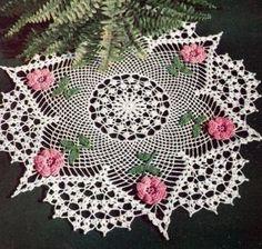 Vintage Crochet PATTERN Irish Rose Flower Doily Motif - Doilies by irah