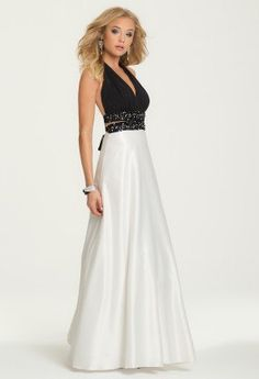 Two-Tone Halter Dress with Tie Open Back from Camille La Vie