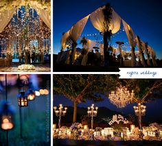 Ornate outdoor reception with luxurious lighting and floral/material draping