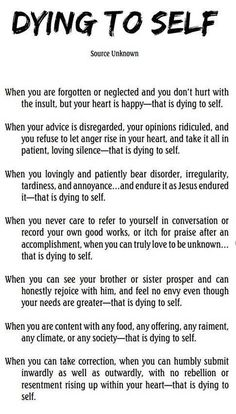 Dying To Self ~ Such A Powerful Reflection For Humility :-)