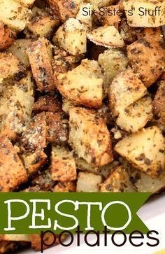 Oven Baked Pesto Potatoes on SixSistersStuff.com