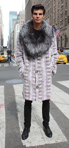 49b5d25e1 Designer off White sculptured Men's Mink Stroller with Silver Fox shawl  collar. Marc Kaufman Furs of New York City, a nameRead