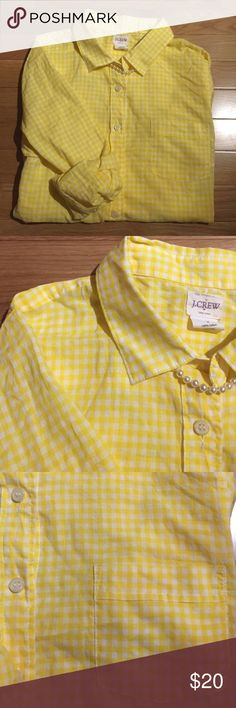 FLASH SALE JCrew Gingham Button Down ☀️ FLASH SALE TODAY ONLY SAVE 20% This yellow gingham blouse is the ideal summer shirt. It is light weight to keep you comfortable on those melting hot days and stylish to keep you looking cool! The sunny yellow matches your happy summer style! Pair with a fun necklace and denim shorts! This necklace is also listed in my closet! Happy shopping :) J.Crew Factory Tops Button Down Shirts