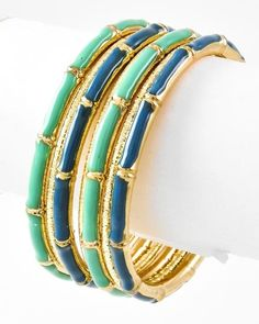 Teal & Navy Bamboo Bracelet Set from Bows To Toes