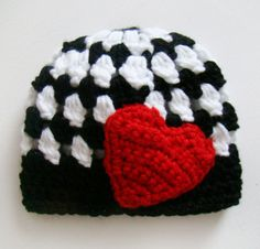 Newborn Heart Hat, Love, Valentines Day - Black, White & Red - FREE SHIPPING. $17.00, via Etsy.