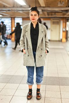 """25 Snaps Of The Subway's Most Stylish Commuters  #refinery29  http://www.refinery29.com/new-york-city-subway-street-style#slide25  Name: Samantha CavestaniJob: StudentWhat She's Wearing: All vintage.What is your must-have clothing item this winter? """"I have this huge army-green coat that can fit so many sweaters underneath!"""""""