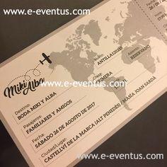Invitación boda en forma bording pass . tarjeta boda billete avión · boda viajera