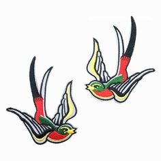 2 PCS Red Swallow Patch Embroidered Punk Iron by FlagPatchKingdom