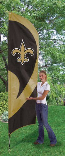 New Orleans Saints Tall Team Flag by Party Animal. Save 24 Off!. $53.32. This applique and embroidered Tall Team Flag sets up in seconds to display your team loyalty in a big way! Flag is 8.5' x 2.5' and is made of heavyweight weather-resistant 420 Denier Nylon. INCLUDES easy-to-assemble 11.5' x 2.5' steel pole with ground stake. Eliminates the need for a permanent flagpole installed in your lawn or attached to your house. Please note: The steel pole included with this flag is not meant t...