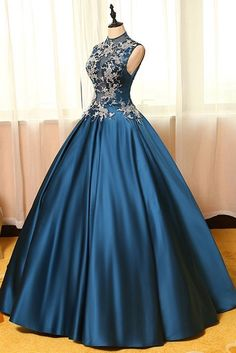 Blue satins lace applique round neck see-through A-line long prom dresses,ball gown dresses sold by lass. Shop more products from lass on Storenvy, the home of independent small businesses all over the world.