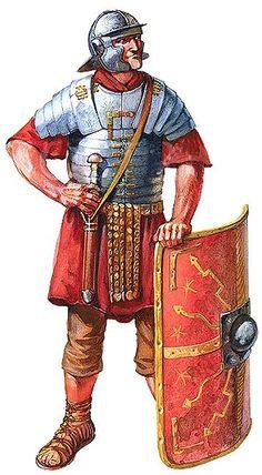 Legionario con lorica segmentata, siglo I.