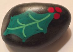 Christmas Holly Holiday Painted Rock