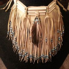 Native American leather fringed choker ( from CreativeNative54 on
