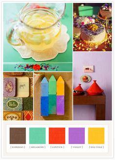 Crafty primaries colorboard: espresso, melamine, lipstick red, violet, egg yolk.