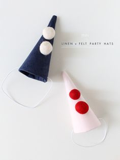 MAKE THIS / LINEN + FELT MINI PARTY HATS