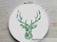 modern cross stitch pattern deer silhouette, reindeer, blocks, PDF,  ** instant download**