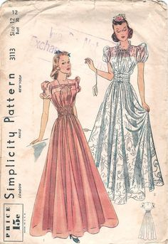 RESERVED for okdoughk Only - Gorgeous Vintage Simplicity Evening Graduation Prom Dress Sewing Pattern Vintage Prom, Vintage Gowns, Vintage Mode, Vintage Style, Evening Dress Patterns, Vintage Dress Patterns, 1930s Fashion, Vintage Fashion, Retro Fashion