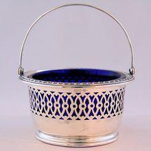 Antique Webster Sterling Silver Sugar Basket Cobalt Blue Liner from Antik Avenue on Ruby Lane