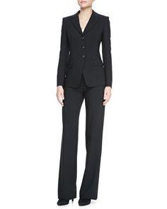 Three-Button Jacket, Poplin Button-Down Blouse & Classic Straight-Leg Pants by Armani Collezioni at Neiman Marcus.
