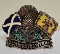 """Vintage Enamel Belt Buckle """"Scotland The Brave""""  By Great American Products From Tanside UK's The Dragon Collection, No DD112,  Made In USA. by OnyxCollectables on Etsy"""