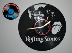 Rolling Stones Wall Clock Upcycled Vinyl Record LP  by VinyloUSA