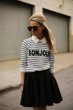 bonjour stripe top and black mini skirt // simple and chic