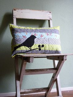 Black bird & hexie pillow by {Leila} Where Orchids Grow, via Flickr    I'll call it the Old Crow's pillow
