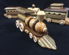 Wooden Toy Train Set 4 piece set 8 Wheel Locomotive Handmade Wood Toy Train is Hardwood One-Of-A-Kind #150925