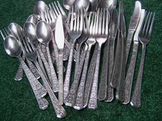 Vintage 1970s Stainless Steel Flatware Set Florenz by Interpur Made in Korea – 31 in all: 8 forks, 8 spoons, 7 knives, 8 more by RetrowareExchange on Etsy