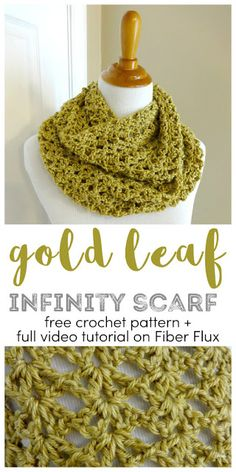 Crochet scarves 378724649911220042 - Gold Leaf Infinity Scarf, free crochet pattern + full video tutorial on Fiber Flux Source by elisabethbollig Crochet Motifs, Crochet Shawl, Crochet Stitches, How To Crochet A Scarf, Crochet Scarf Tutorial, Crochet Pattern Free, Crochet Scarves, Crochet Clothes, Crochet Infinity Scarves