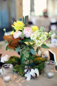 simple moss centerpieces mason jars and flowers - Google Search