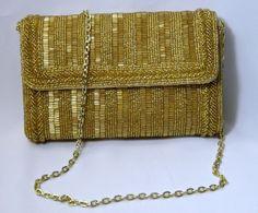 Vintage Walborg Gold Glass Beaded Evening Purse - Shoulder or Clutch - Sparkly! #Walborg #EveningBag