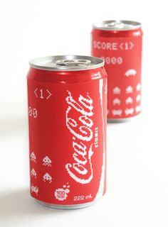 """modern retro: """"pixel edition"""" packaging designed for Coca-Cola by Erin L. It features space invaders from the arcade video game of the same name released in 1978 Coca Cola Can, Always Coca Cola, Coca Cola Bottles, Coke Cans, Pepsi, Space Invaders, Cool Packaging, Packaging Design, Graphic Design Trends"""