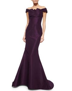 Zac Posen Folded Off-the-Shoulder Silk Faille Gown, Plum