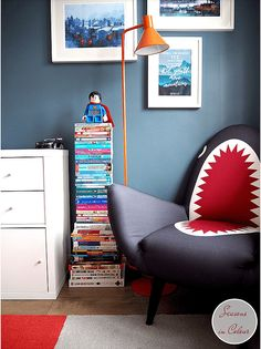 Kid's room makeover in blue and red Dulux Steel Symphony 1 wall paint Bedroom Red, Kids Bedroom, Bedroom Decor, Bedroom Ideas, Blue Rooms, Blue Walls, Big Boy Bedrooms, Room Chairs, Boy Room