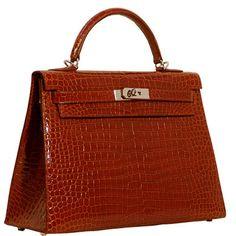 Cognac Crocodile Hermes Kelly Bag