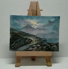 Aceo original landscape hills mountains trail misty lake birds rocks metcalfe