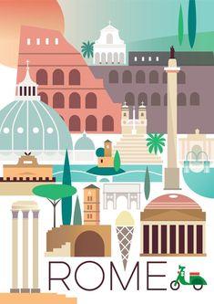 ROME POSTER #TravelEuropeIllustration #VintageDestination