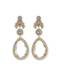 Crystal Teardrop Statement Clip Earrings